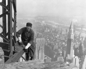 Old timer structural worker 2, by Lewis Hine, edited by Durova